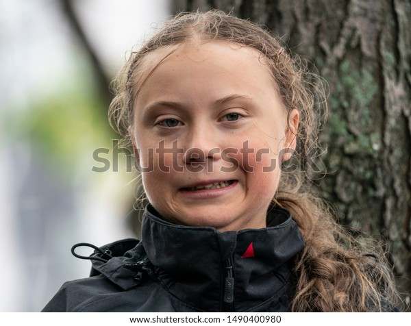 New York, NY - August 28, 2019: 16-year-old climate activist Greta Thunberg arrives into New York City after crossing the Atlantic in a sailboat and attend press conference at North Cove Marina