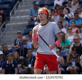 New York, NY - August 30, 2018: Alexander Zverev of Germany reacts during US Open 2018 2nd round match against Nicolas Mahut of France at USTA Billie Jean King National Tennis Center
