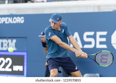 New York, NY - August 30, 2018: Alex de Minaur of Australia returns ball during US Open 2018 2nd round match against Frances Tiafoe of USA at USTA Billie Jean King National Tennis Center