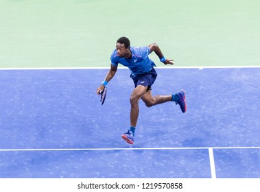 New York, NY - August 30, 2018: Novak Djokovic of Serbia chases ball during US Open 2018 2nd round match against Tennys Sandgren of USA at USTA Billie Jean King National Tennis Center