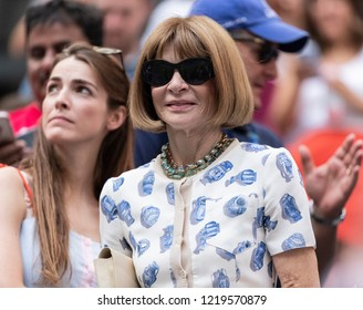 New York, NY - August 30, 2018: Anna Wintour attends US Open 2018 2nd round match between Roger Federer of Switzerland & Benoit Paire of France at USTA Billie Jean King National Tennis Center