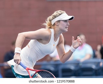 New York, NY - August 30, 2018: Eugenie Bouchard of Canada chases ball during US Open 2018 2nd round match against Marketa Vondrousova of Czech Republic at USTA Billie Jean King National Tennis Center