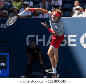New York, NY - August 30, 2018: Alexander Zverev of Germany serves during US Open 2018 2nd round match against Nicolas Mahut of France at USTA Billie Jean King National Tennis Center
