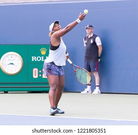 New York, NY - August 30, 2018: Taylor Townsend of USA serves during US Open 2018 2nd round match against Jelena Ostapenko of Latvia at USTA Billie Jean King National Tennis Center