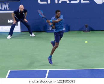 New York, NY - August 30, 2018: Gael Monfils of France returns ball during US Open 2018 2nd round match against Kei Nishikori at USTA Billie Jean King National Tennis Center
