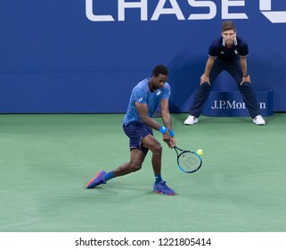 New York, NY - August 30, 2018: Gael Monfils of France serves during US Open 2018 2nd round match against Kei Nishikori of Japan at USTA Billie Jean King National Tennis Center