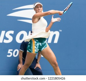 New York, NY - August 30, 2018: Madison Keys of USA returns ball during US Open 2018 2nd round match against Bernarda Pera of USA at USTA Billie Jean King National Tennis Center