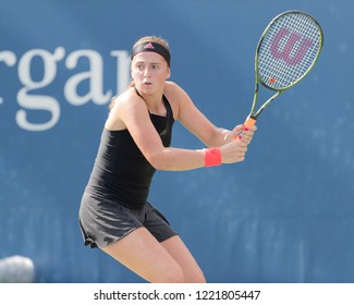 New York, NY - August 30, 2018: Jelena Ostapenko of Latvia returns ball during US Open 2018 2nd round match against Taylor Townsend of USA at USTA Billie Jean King National Tennis Center