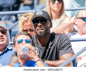 New York, NY - August 30, 2019: Kobe Bryant attends round 3 of US Open Championship between Serena Williams (USA) and Karolina Muchova (Czech Republic) at Billie Jean King National Tennis Center