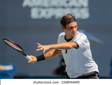 New York, NY - August 30, 2019: Roger Federer (Switzerland) in action during round 3 of US Open Tennis Championship against Daniel Evans (Great Britain) at Billie Jean King National Tennis Center