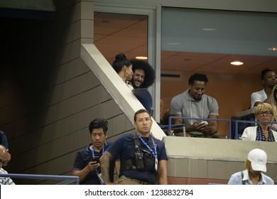 New York, NY - August 31, 2018: Nessa Diab, Colin Kaepernick attend US Open 2018 3rd round match between Serena Williams & Venus Williams of USA at USTA Billie Jean King National Tennis Center