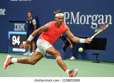 New York, NY - August 31, 2018: Rafael Nadal of Spain returns ball during US Open 2018 3rd round match against Karen Khachanov of Russia at USTA Billie Jean King National Tennis Center
