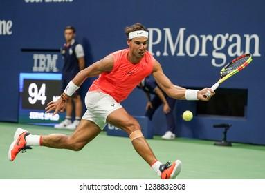 New York, NY - August 31, 2018: Rafael Nadal of Spain returns ball during US Open 2018 3rd round match against Karen Khachanov of Russia at USTA Billie Jean King National Tennis Center