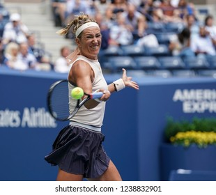 New York, NY - August 31, 2018: Victoria Azarenka of Belarus returns ball during US Open 2018 3rd round match against Sloane Stephens of USA at USTA Billie Jean King National Tennis Center