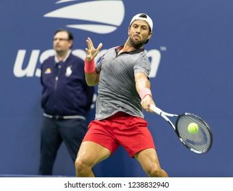 New York, NY - August 31, 2018: Fernando Verdasco of Spain returns ball during US Open 2018 3rd round match against Juan Martin del Potro of Argentina at USTA Billie Jean King National Tennis Center