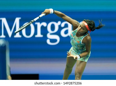 New York, NY - August 31, 2019: Cori Coco Gauff (USA) in action during round 3 of US Open Championship against Naomi Osaka (Japan) at Billie Jean King National Tennis Center