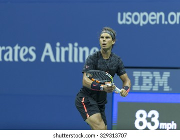New York, NY - August 31, 2015: Rafael Nadal of Spain returns ball during 1st round match against Borna Coric of Croatia at US Open Championship