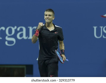 New York, NY - August 31, 2015: Borna Coric of Croatia reacts during 1st round match against Rafael Nadal of Spain at US Open Championship