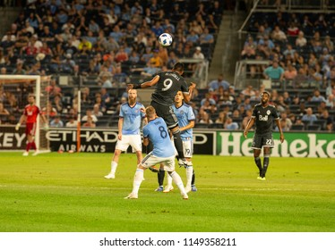 New York, NY - August 4, 2018: Anthony Blondell (9) of Vancouver Whitecaps FC controls air ball during regular MLS game against NYC FC on Yankee stadium Game ended in draw 2 - 2