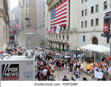 NEW YORK, NY - AUGUST 8: Outside New York Stock Exchange on August 8, 2011, after sixth largest point decline in history (634.76 points) due to S&P's downgrade of United States' credit rating.