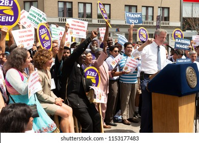 New York, NY - August 9, 2018: NYC Mayor Bill de Blasio speaks at rally celebrating the passage of for-hire vehicle legislation on Union Square