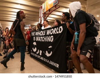 New York, NY - August 9, 2019: Members of NYC Shut It Down group staged protest in support of Mike Brown and Eric Garner and Black Lives Matter at Grand Central Terminal