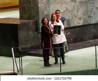 New York, NY - Dec 18, 2018: Munizae Jahangir accepts prize on behalf of Asma Jahangir Pakistan lawyer at GA meeting for 70th anniversary of Universal Declaration of Human Rights at UN Headquarters