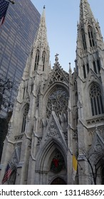 NEW YORK, NY - DEC 20: St Patrick's Cathedral in New York, as seen on Dec 20, 2015. It is a decorated Neo-Gothic-style Roman Catholic cathedral church.
