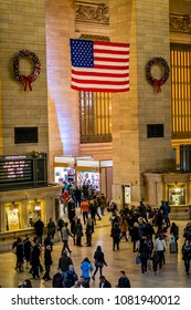 New York, NY - DEC 2nd 2017: Commuters and torists in New York's Grand Central Terminal