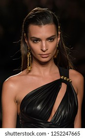 NEW YORK, NY - DECEMBER 02: Model Emily Ratajkowski walks the runway at the Versace Pre-Fall 2019 Collection at The American Stock Exchange on December 02, 2018 in New York City.