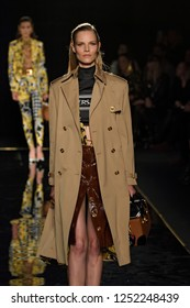 NEW YORK, NY - DECEMBER 02: Model Suvi Koponen walks the runway at the Versace Pre-Fall 2019 Collection at The American Stock Exchange on December 02, 2018 in New York City.