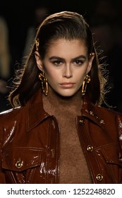 NEW YORK, NY - DECEMBER 02: Model Kaia Gerber walks the runway at the Versace Pre-Fall 2019 Collection at The American Stock Exchange on December 02, 2018 in New York City.