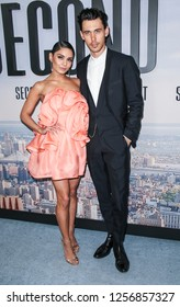 New York, NY - December 12, 2018: Vanessa Hudgens wearing dress by Marc Jacobs and Austin Butler attend the world premiere of 'Second Act' at Regal Union Square Theatre