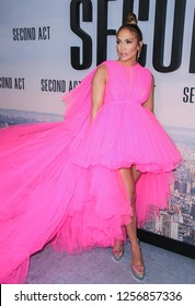 New York, NY - December 12, 2018: Jennifer Lopez wearing gown by Giambattista Valli attends premiere of 'Second Act' at Regal Union Square Theatre