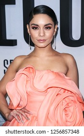 New York, NY - December 12, 2018: Vanessa Hudgens wearing dress by Marc Jacobs attends the world premiere of 'Second Act' at Regal Union Square Theatre