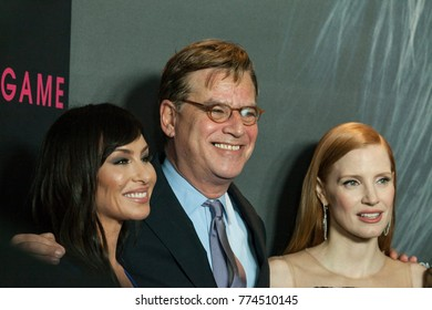 New York, NY - December 13, 2017: Molly Bloom, Aaron Sorkin and Jessica Chastain attend New York premiere Molly's Game at AMC Loews Lincoln Square