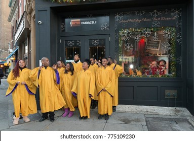 New York, NY - December 14, 2017: New York Gospel Choir sings during Duracell unveiling holiday window in New York