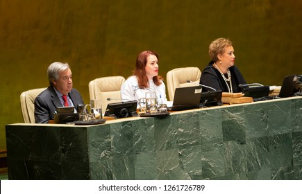 New York, NY - December 18, 2018: President of 73rd GA Maria Fernanda Espinosa Garces addresses GA meeting on occasion of 70th anniversary of Universal Declaration of Human Rights at UN Headquarters