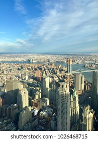 NEW YORK, NY - DECEMBER 20, 2017: Aerial view at skyscrapers in Manhattan from the Freedom Tower One World Observatory in New York City.