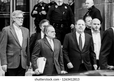 New York, NY - December 20, 2018: Attorney Benjamin Brafman & Harvey Weinstein leave court after unsuccessful hearing of Harvey Weinstein case at New York Criminal Court
