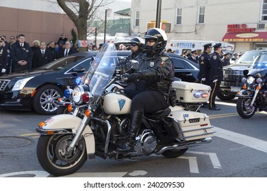 NEW YORK, NY - DECEMBER 27, 2014: Police officer on Motorcycle from New Haven attends Christ Tabernacle Church for the funeral of slain New York City Police Officer Rafael Ramos