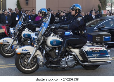 NEW YORK, NY - DECEMBER 27, 2014: Police officer on Motorcycle from Boston attends Christ Tabernacle Church for the funeral of slain New York City Police Officer Rafael Ramos