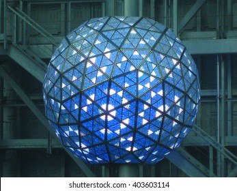 NEW YORK, NY - December 28, 2009:  Times Square Ball on top of One Times Square Building in Times Square, New York City, taken on December 28, 2009.