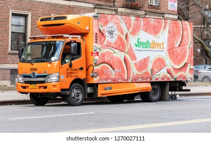 New York, NY - December 29, 2018: A FreshDirect delivery truck  on the strret of Brooklyn. FreshDirect delivers groceries to residences and offices in the New York City metropolitan area.