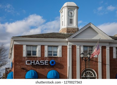 New York, NY - December 29, 2018: Exterior of Chase Bank branch building with logo, Brooklyn, NY. Chase Bank serves nearly half of U.S. households with a broad range of products.