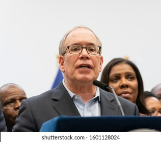 New York, NY - December 29, 2019: New York City Comptroller Scot Stringer addresses media at city officials respond to antisemitism at Brooklyn Public Library