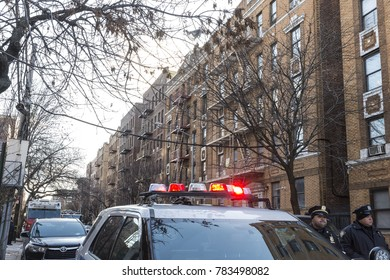 New York, NY - December 29, 2017: Aftermath of burnt building on Prospect Avenue in the Bronx where 12 people died including 4 children, deadliest fire in New York in the last 25 years