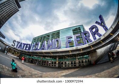 New York, NY - December 30, 2017: Exterior view of the Staten Island Ferry terminal in Battery Park Manhattan. Fisheye lens view