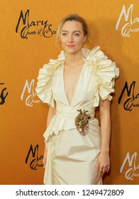 New York, NY - December 4, 2018: Saoirse Ronan wearing dress by Gucci attends the New York premiere of 'Mary Queen Of Scots' at Paris Theater