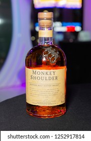 New York, NY - December 5, 2018: Bottle of Monkey Shoulder malt scotch whisky on display at Meet the Queens of RuPaul's Drag Race All Stars by VH1 at TRL Studios